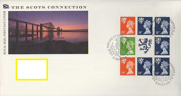 1989 GB - FDC - SCOT Machin Pane from DX10 PB (Addressed)